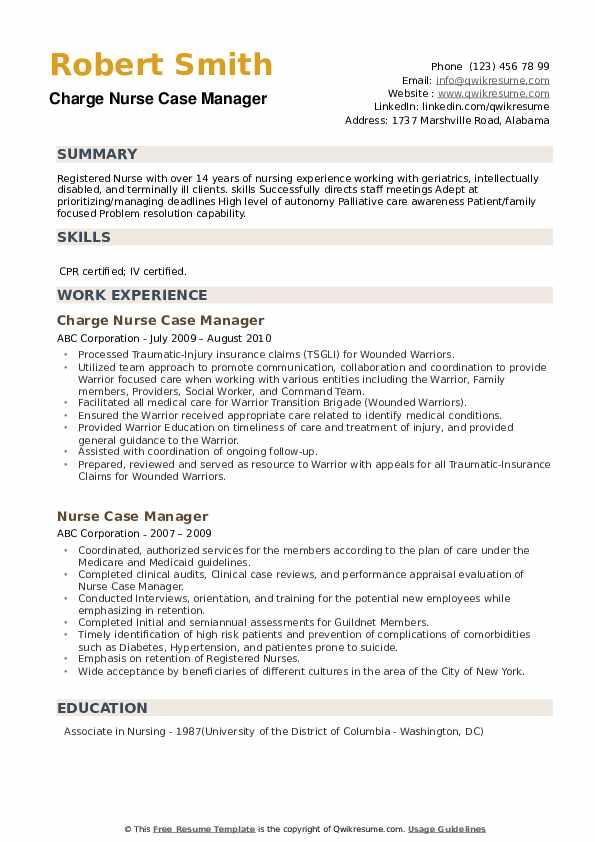 Clinical Care Coordinator/Supervisor Resume Template