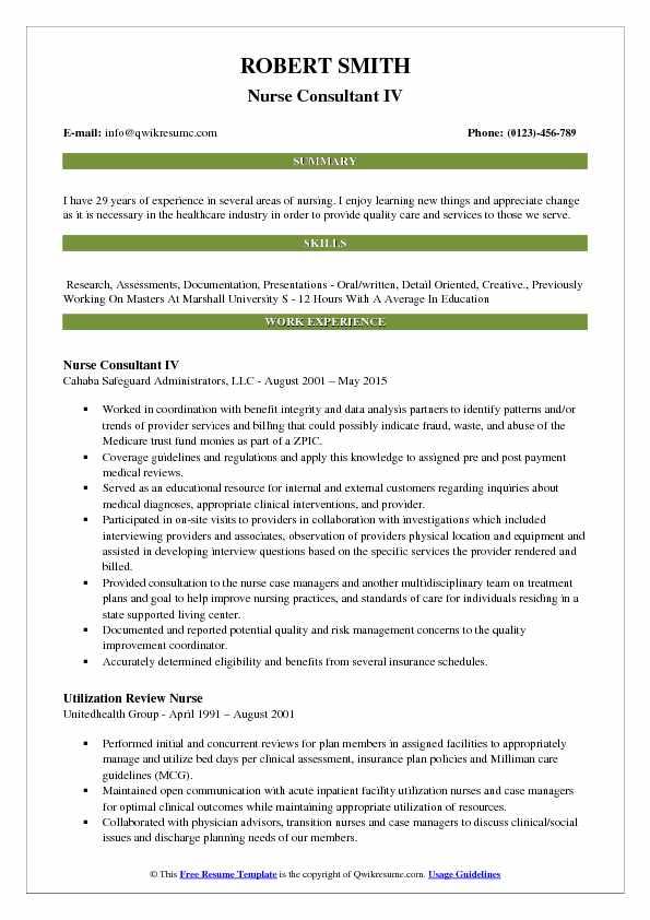Nurse Consultant IV Resume Example