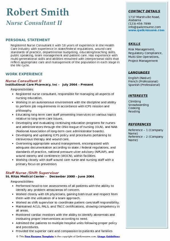 Nurse Consultant II Resume Sample