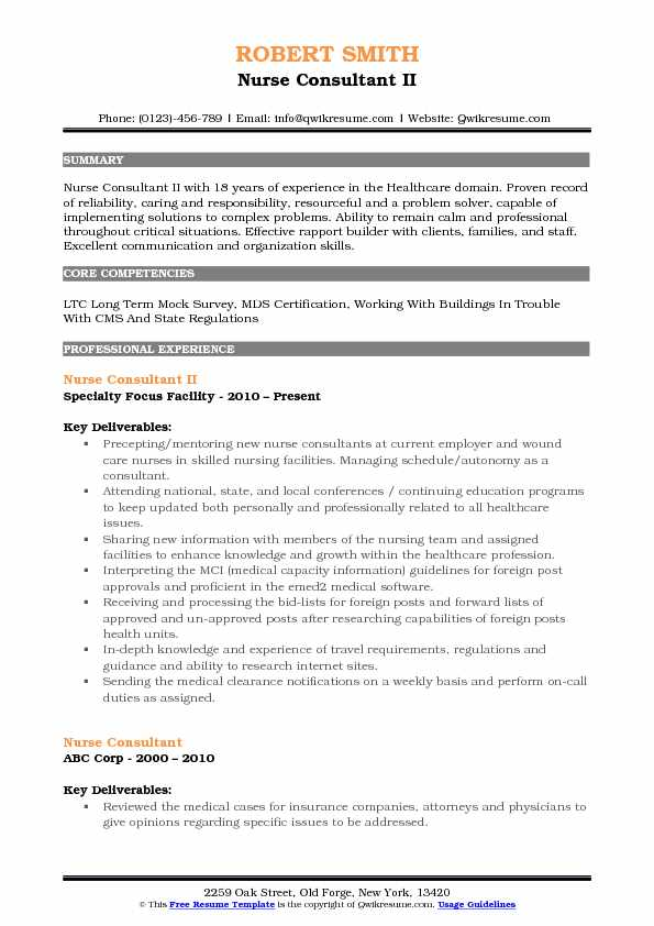 nurse consultant resume samples