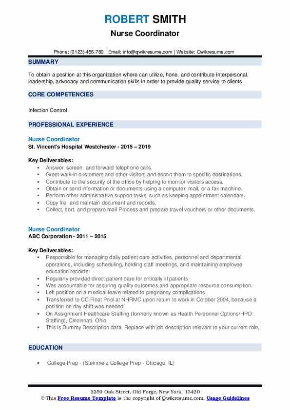 Nurse Coordinator Resume example