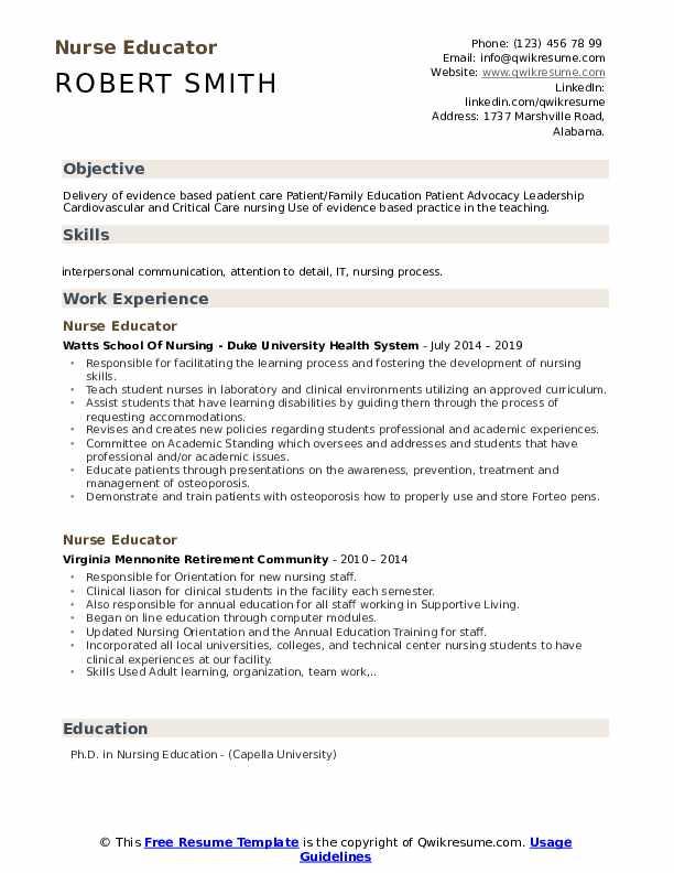 Nurse Educator Resume Format