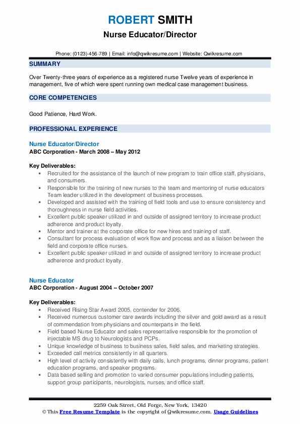Nurse Educator/Director Resume Model