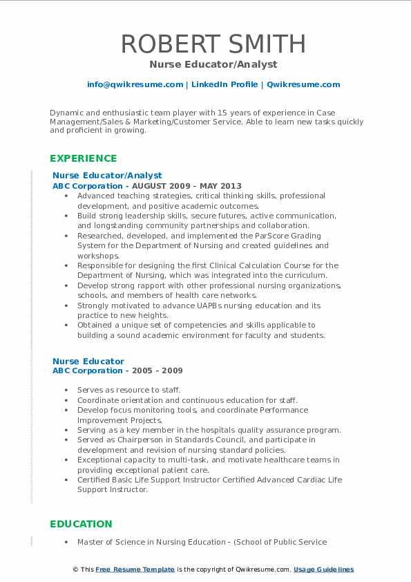 Nurse Educator/Analyst Resume Format