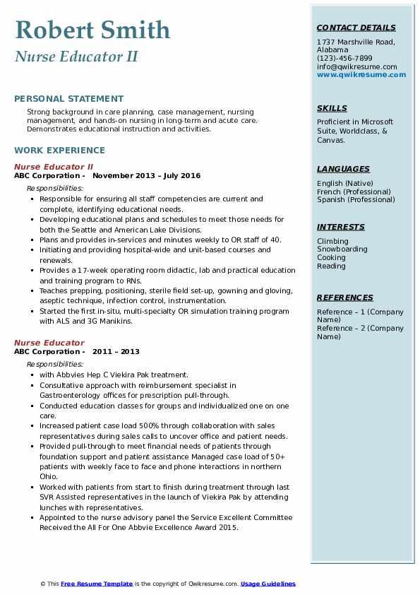 Nurse Educator II Resume Model