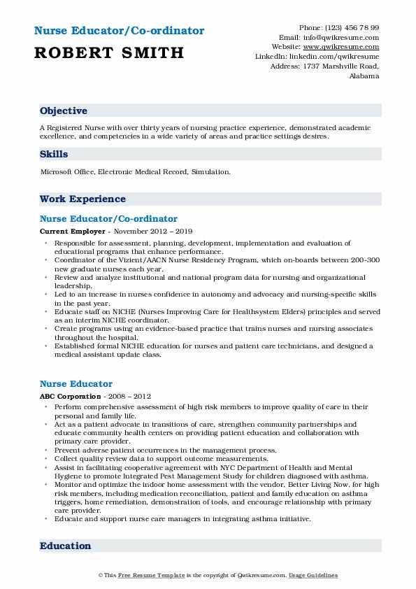 Nurse Educator/Co-ordinator Resume Sample