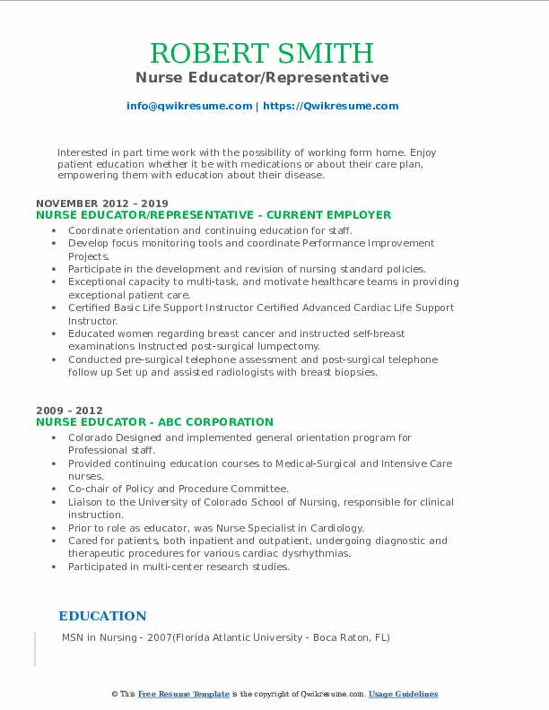 Nurse Educator/Representative Resume Format