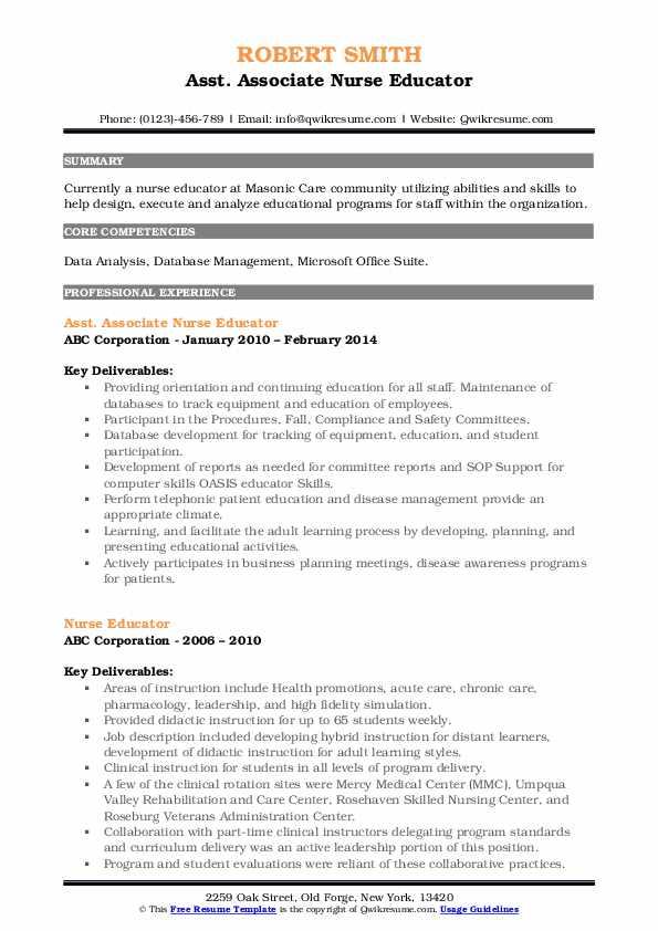 Asst. Associate Nurse Educator Resume Template
