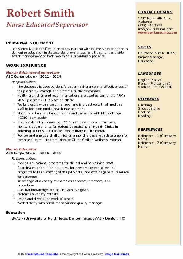 Nurse Educator/Supervisor Resume Model