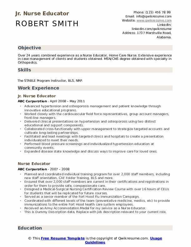 Jr. Nurse Educator Resume Format