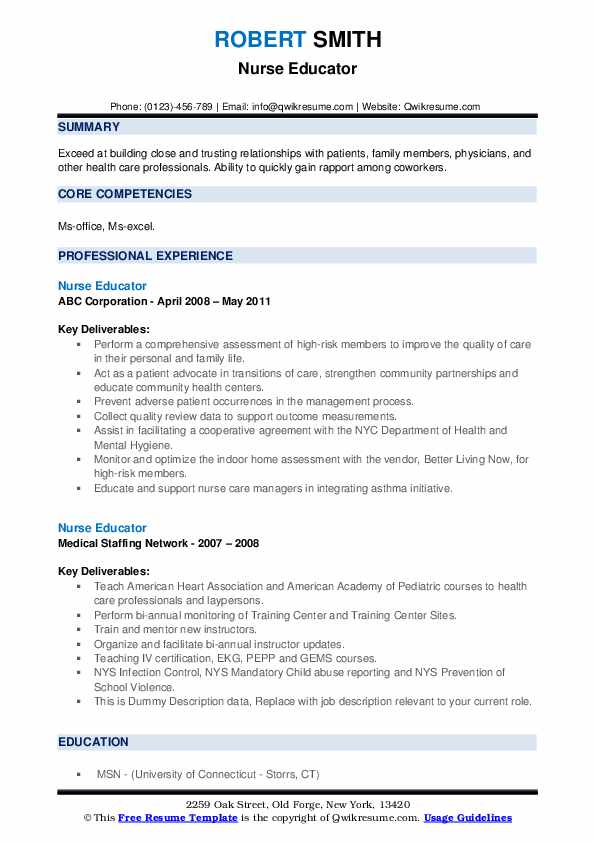 Nurse Educator Resume example