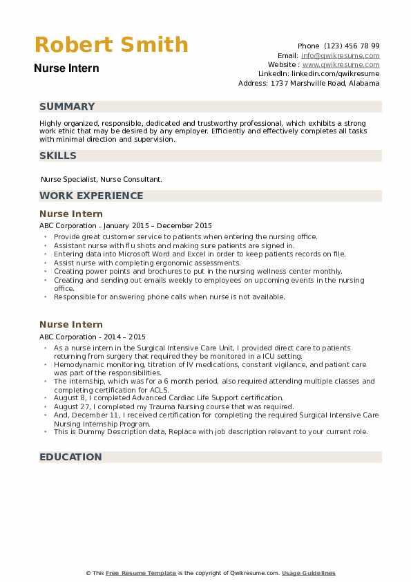 Nurse Intern Resume example