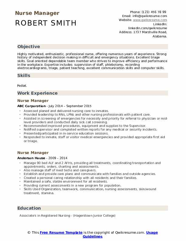 Nurse Manager Resume Format
