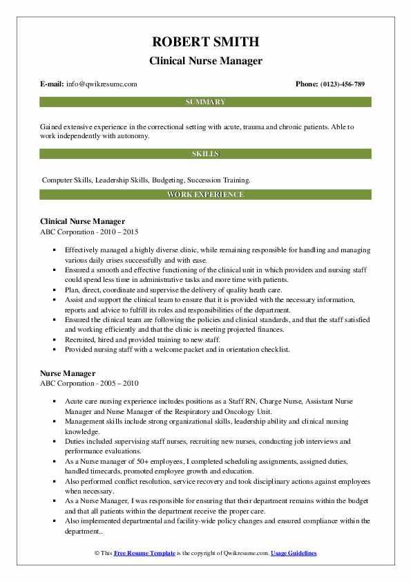 Clinical Nurse Manager Resume Model