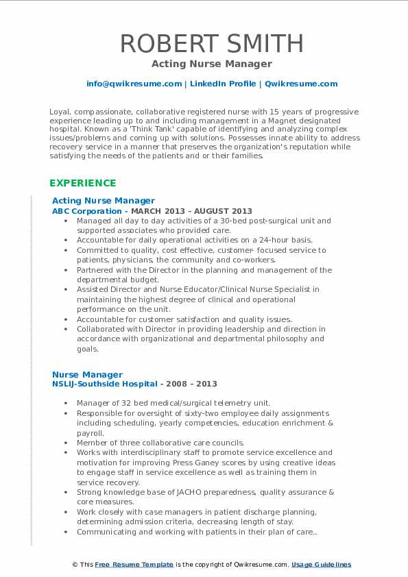 Acting Nurse Manager Resume Template