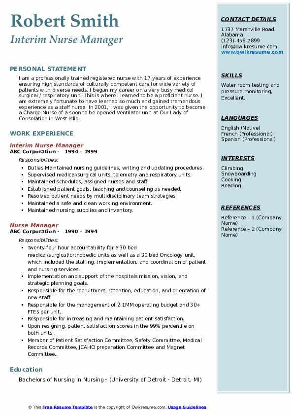 Nurse Manager Resume Samples | QwikResume