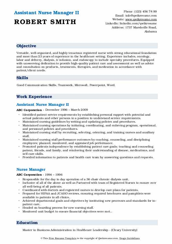 Assistant Nurse Manager II Resume Example