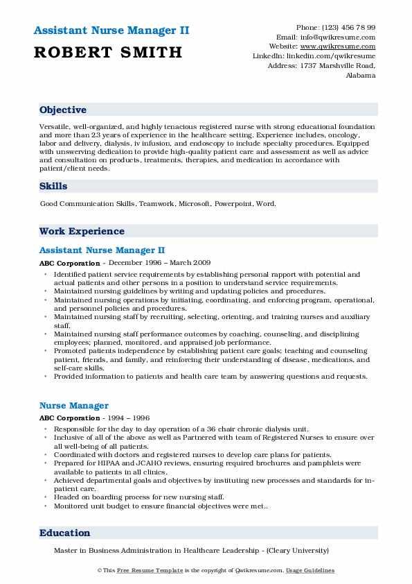 Assistant Nurse Manager II Resume Format