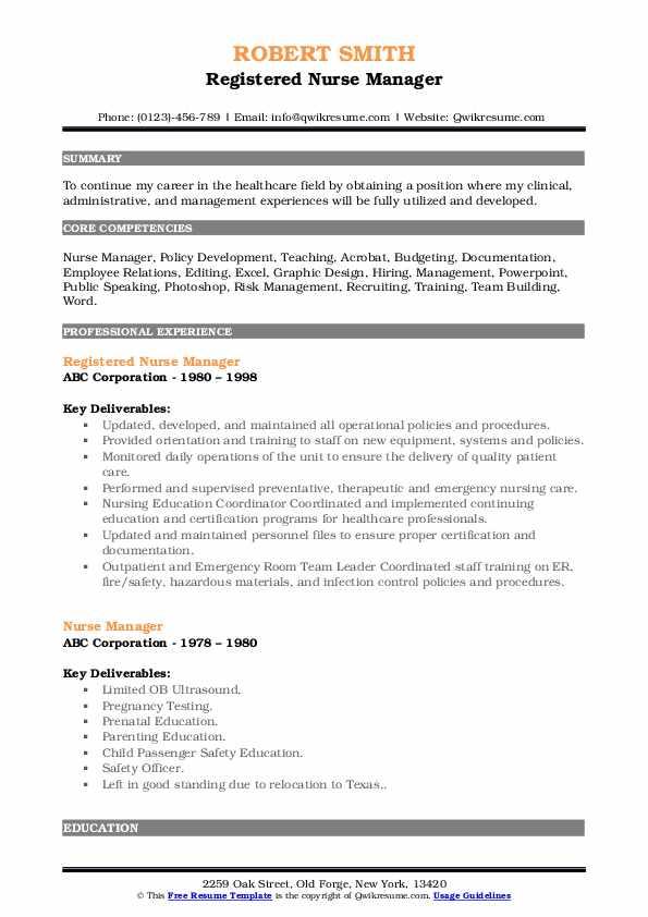 Registered Nurse Manager Resume Sample