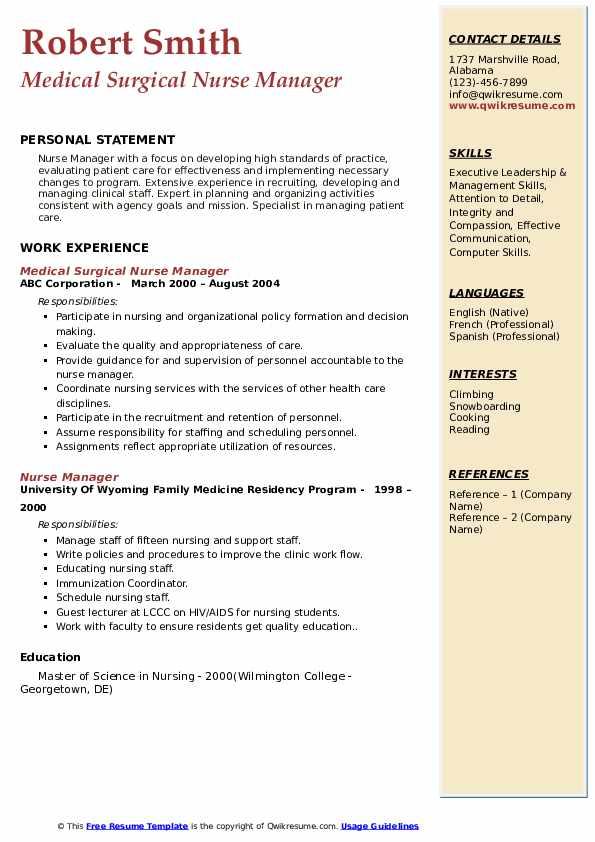 Medical Surgical Nurse Manager Resume Sample