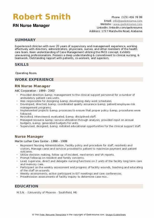 RN Nurse Manager Resume Model