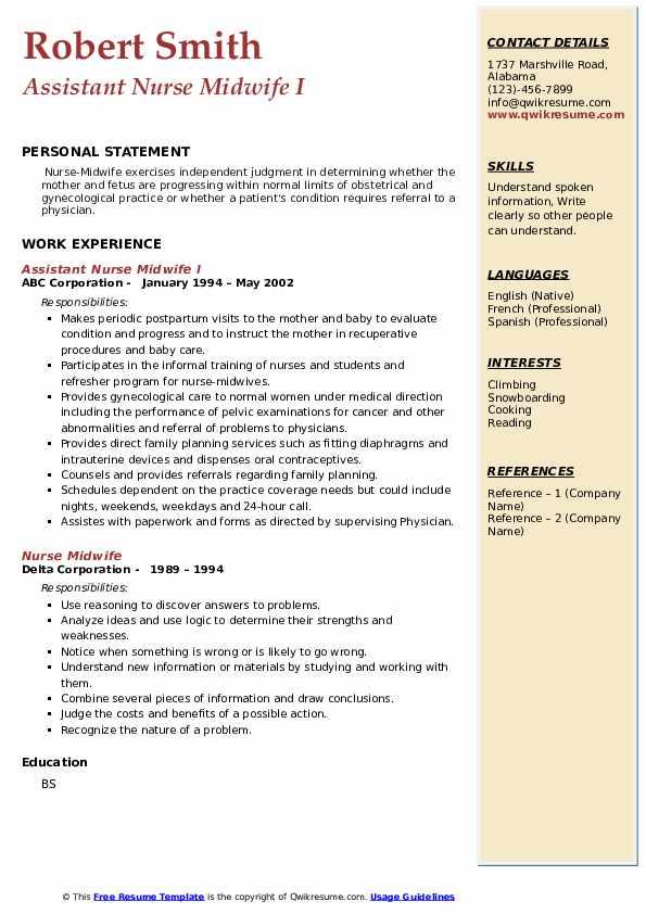 Nurse Midwife Resume example