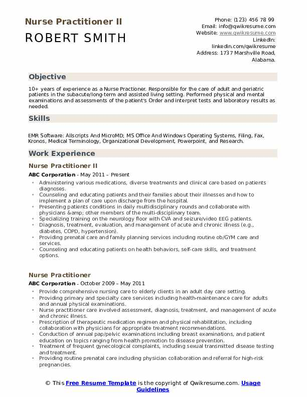 Nurse Practitioner II Resume Template
