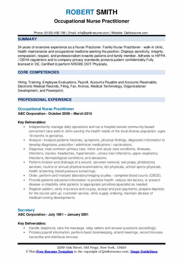 Occupational Nurse Practitioner Resume Template