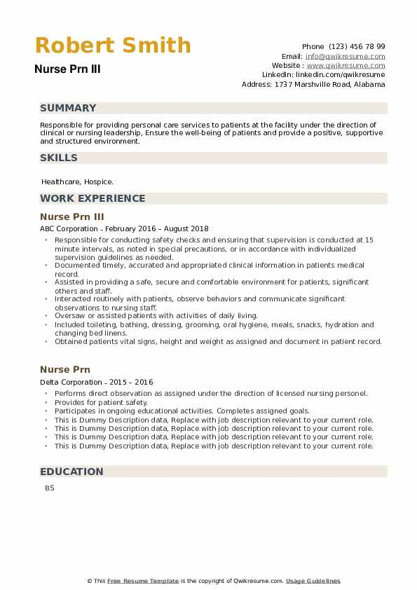 Nurse Prn Resume example