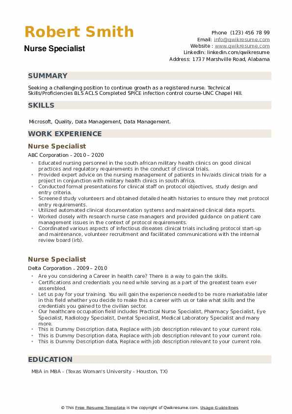 Nurse Specialist Resume example