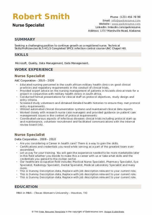 Nurse Specialist Resume example