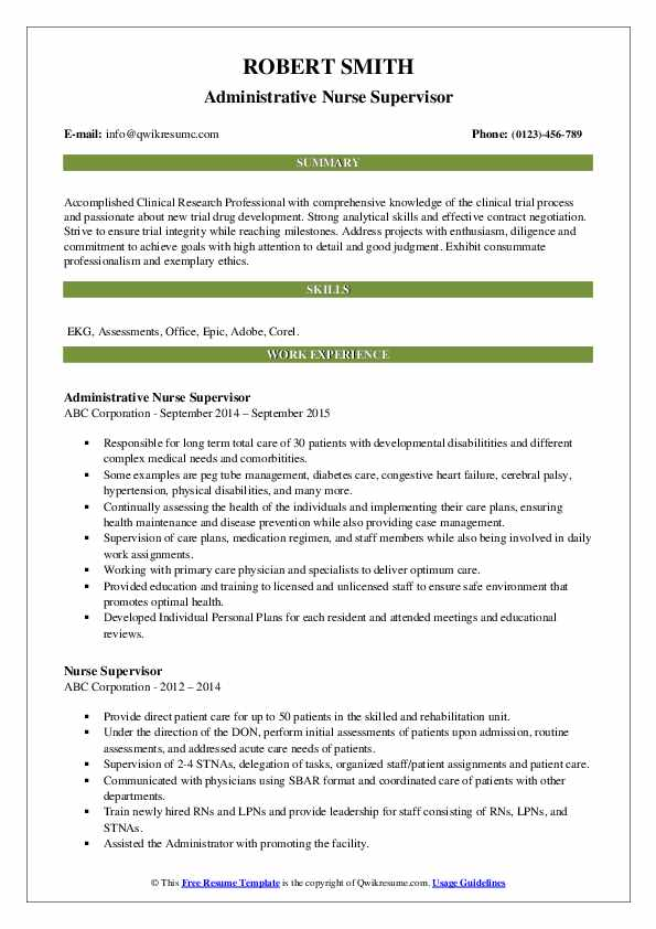 Administrative Nurse Supervisor Resume Format