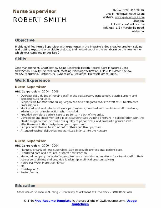 Nurse Supervisor Resume example