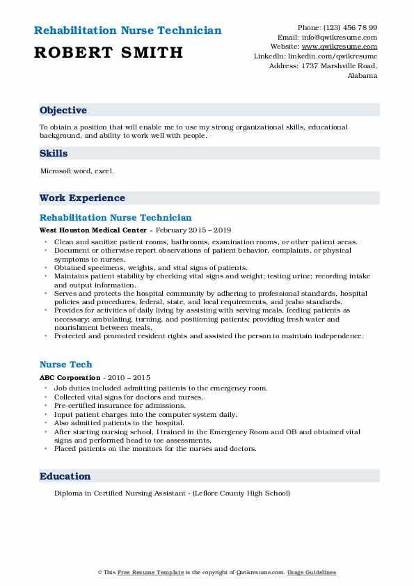 nurse tech resume samples