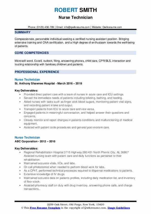 Nurse Technician Resume example