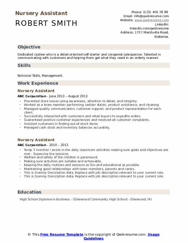 Nursery Assistant Resume example