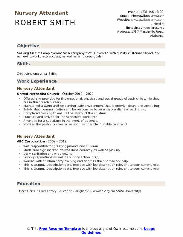 Nursery Attendant Resume example