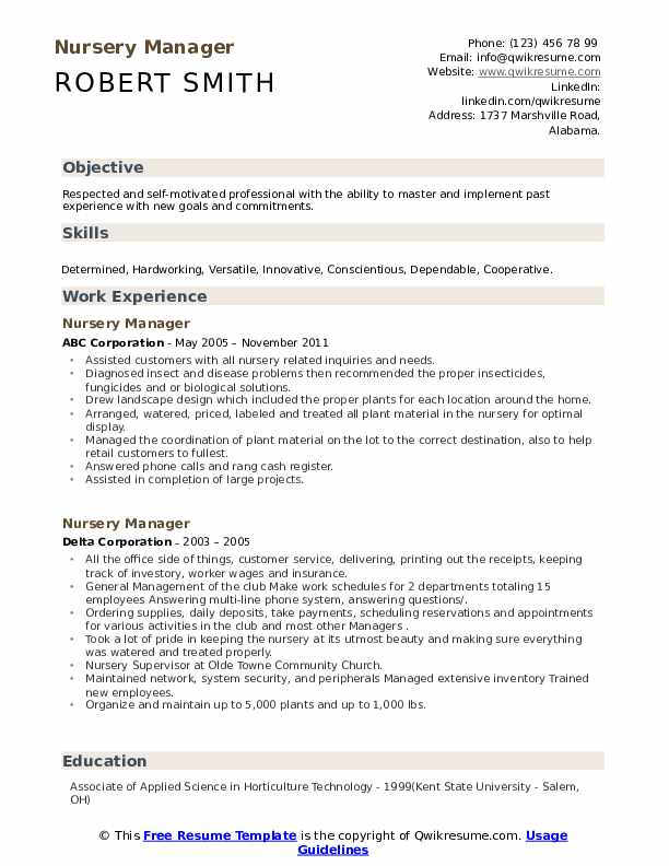 Nursery Manager Resume example