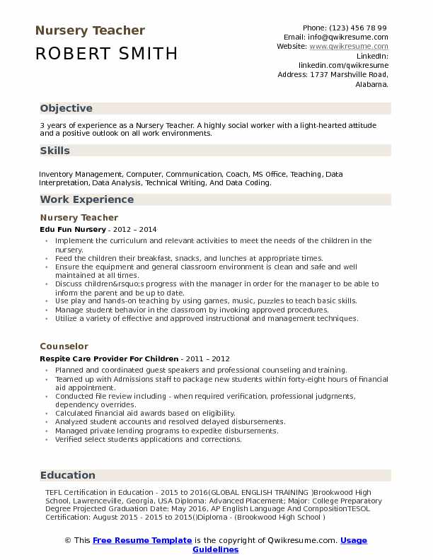 nursery teacher resume samples