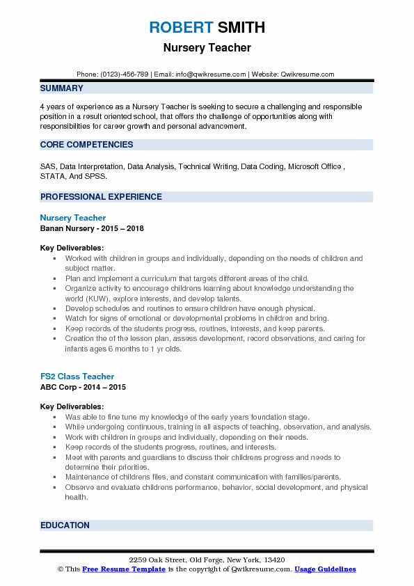 Nursery Teacher Resume Samples Qwikresume