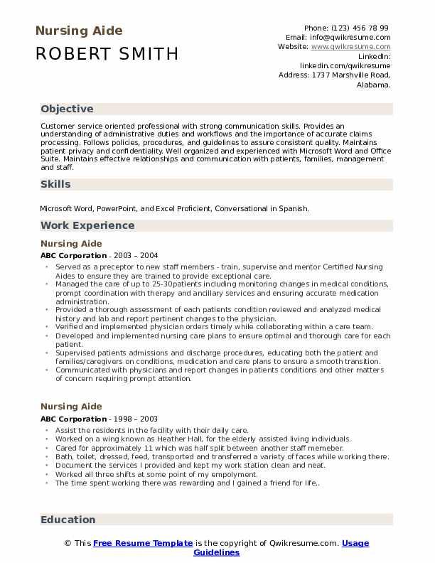 Nursing Aide Resume Model