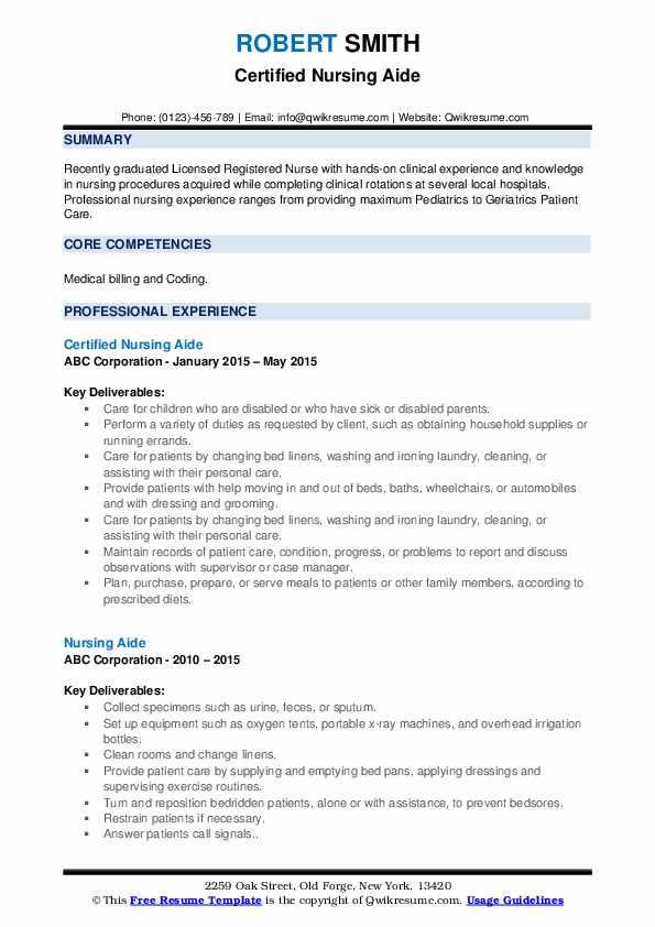 Certified Nursing Aide Resume Sample