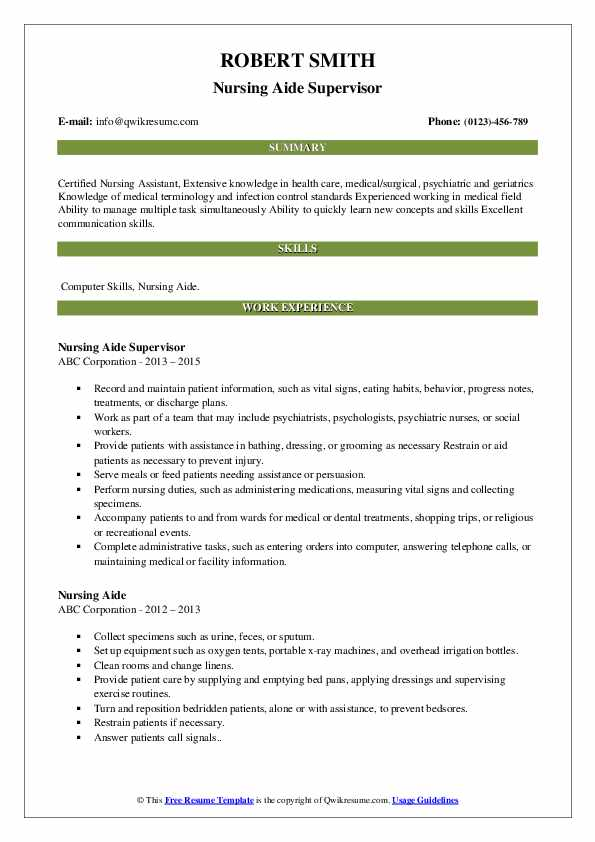 Nursing Aide Supervisor Resume Example