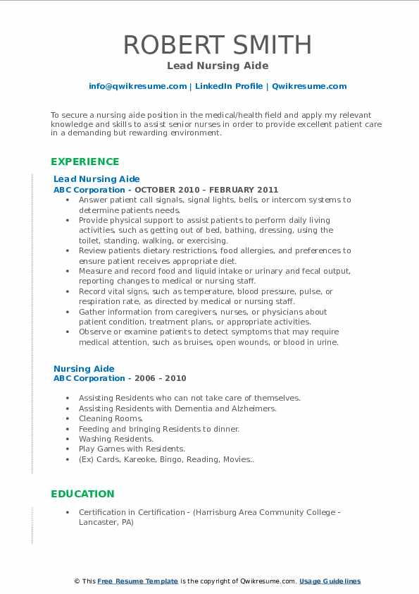Lead Nursing Aide Resume Format