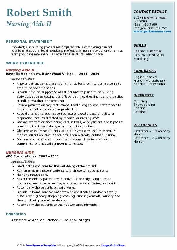 Nursing Aide II Resume Format