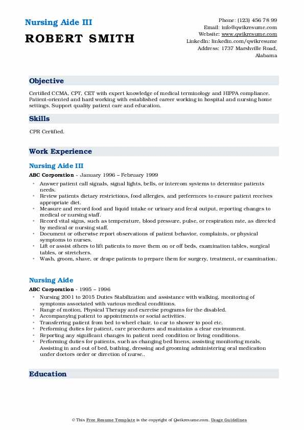Nursing Aide III Resume Example