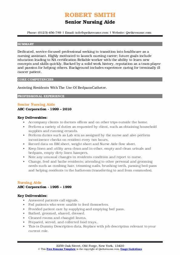 Senior Nursing Aide Resume Format