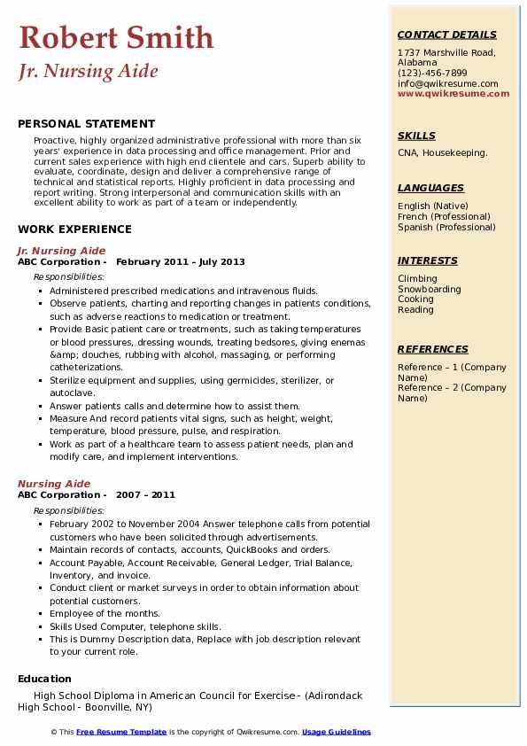 Jr. Nursing Aide Resume Model