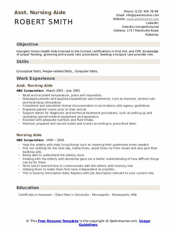 Asst. Nursing Aide Resume Sample