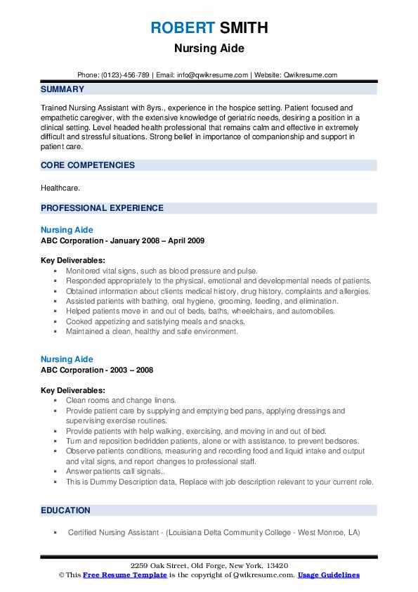 Nursing Aide Resume example